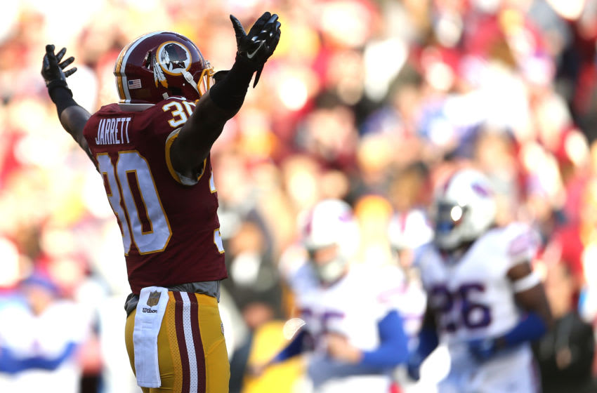 LANDOVER, MD - DECEMBER 20: Strong safety Kyshoen Jarrett #30 of the Washington Redskins reacts to a play against the Buffalo Bills in the second quarter at FedExField on December 20, 2015 in Landover, Maryland. (Photo by Matt Hazlett/Getty Images)