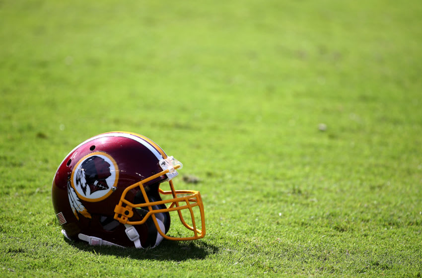 BALTIMORE, MD - OCTOBER 9: A Washington Redskins helmet sits on the field prior to the game against the Baltimore Ravens at M&T Bank Stadium on October 9, 2016 in Baltimore, Maryland. (Photo by Todd Olszewski/Getty Images)
