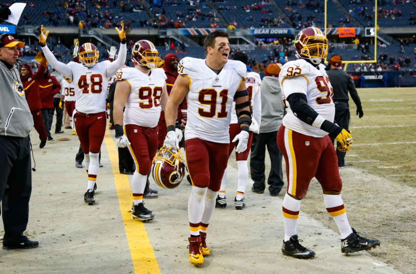 CHICAGO, IL - DECEMBER 24: Ryan Kerrigan #91 of the Washington Redskins reacts on the sidelines after the Redskins scored against the Chicago Bears in the fourth quarter at Soldier Field on December 24, 2016 in Chicago, Illinois. The Washington Redskins defeated the Chicago Bears 41-21. (Photo by Joe Robbins/Getty Images)