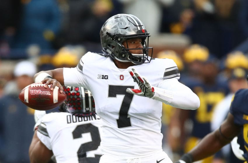 ANN ARBOR, MI - NOVEMBER 25: Dwayne Haskins #7 of the Ohio State Buckeyes looks to throw a pass in the second half against the Michigan Wolverines on November 25, 2017 at Michigan Stadium in Ann Arbor, Michigan. (Photo by Gregory Shamus/Getty Images)