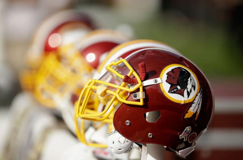 SANTA CLARA, CA - NOVEMBER 23: Washington Redskins helmets on the sideline during their game against the San Francisco 49ers at Levi's Stadium on November 23, 2014 in Santa Clara, California. (Photo by Ezra Shaw/Getty Images)
