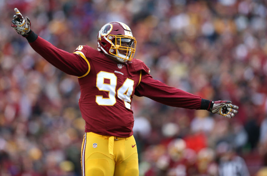 LANDOVER, MD - DECEMBER 20: Linebacker Preston Smith #94 of the Washington Redskins celebrates a tackle against the Buffalo Bills at FedExField on December 20, 2015 in Landover, Maryland. (Photo by Patrick Smith/Getty Images)