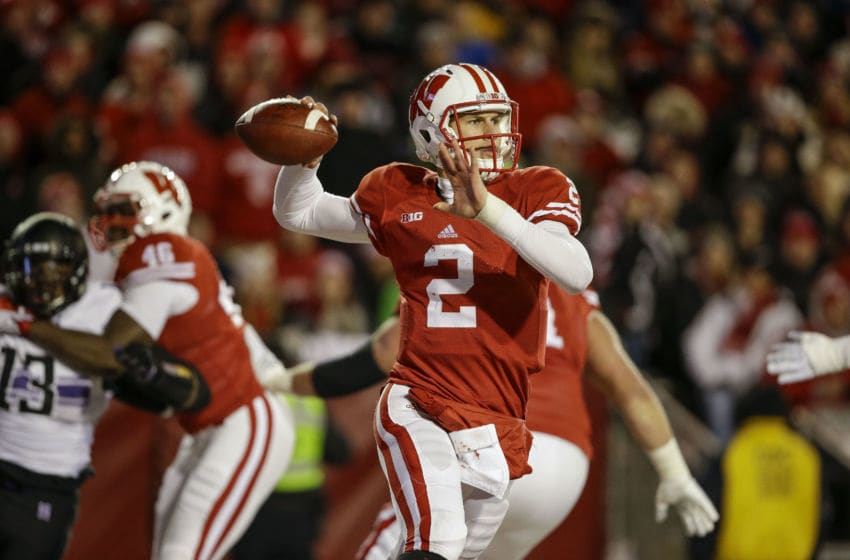 MADISON, WI - NOVEMBER 21: Quarterback Joel Stave #2 of the Wisconsin Badgers makes a throw against Northwestern Wildcats on November 21, 2015 at Camp Randall Stadium in Madison, Wisconsin. (Photo by Tom Lynn/Getty Images)