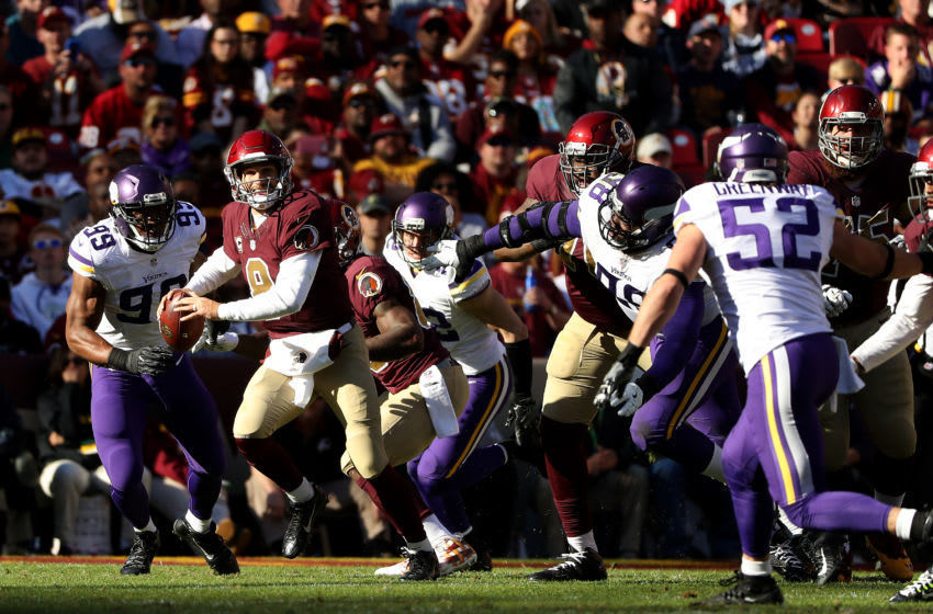 LANDOVER, MD - NOVEMBER 13: Quarterback Kirk Cousins #8 of the Washington Redskins looks to pass the ball against the Minnesota Vikings in the second quarter at FedExField on November 13, 2016 in Landover, Maryland. (Photo by Patrick Smith/Getty Images)