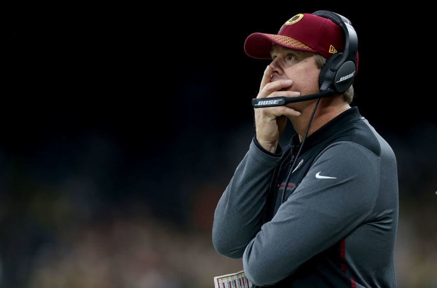 NEW ORLEANS, LA - NOVEMBER 19: Head coach Jay Gruden of the Washington Redskins ooks on as his team takes on the New Orleans Saints during the first half at the Mercedes-Benz Superdome on November 19, 2017 in New Orleans, Louisiana. (Photo by Sean Gardner/Getty Images)