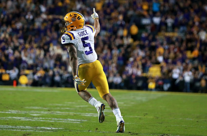 BATON ROUGE, LA - NOVEMBER 25: Derrius Guice #5 of the LSU Tigers reacts after scoring a touchdown during the second half of a game against the Texas A&M Aggies at Tiger Stadium on November 25, 2017 in Baton Rouge, Louisiana. LSU won the game 45 - 21. (Photo by Sean Gardner/Getty Images)