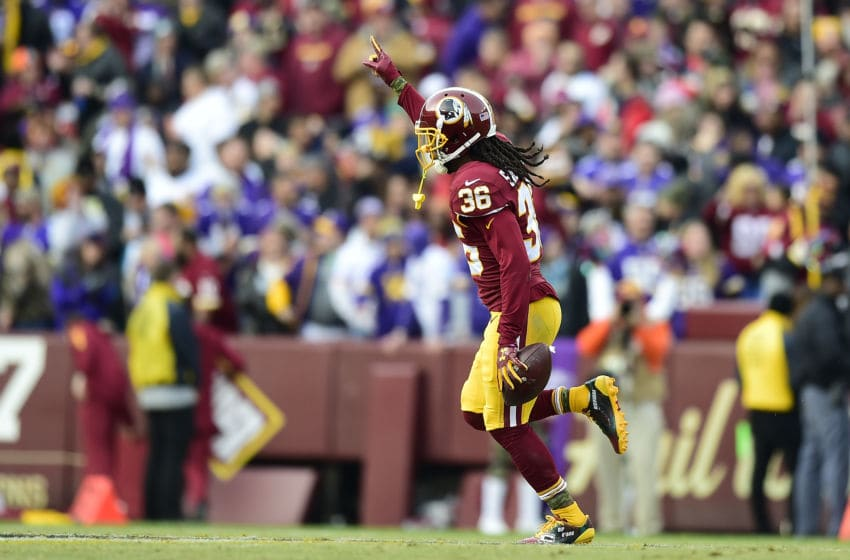 LANDOVER, MD - NOVEMBER 12: Free safety D.J. Swearinger #36 of the Washington Redskins celebrates after an interception during the fourth quarter against the Minnesota Vikings at FedExField on November 12, 2017 in Landover, Maryland. (Photo by Patrick McDermott/Getty Images)