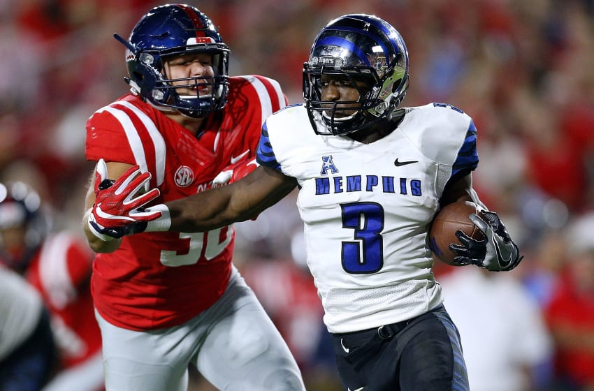 OXFORD, MS - OCTOBER 01: Anthony Miller #3 of the Memphis Tigers runs with the ball as John Youngblood #38 of the Mississippi Rebels defends during the first half of a game at Vaught-Hemingway Stadium on October 1, 2016 in Oxford, Mississippi. (Photo by Jonathan Bachman/Getty Images)