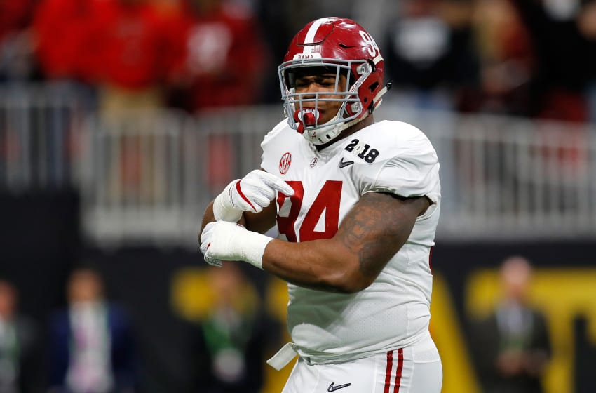 ATLANTA, GA - JANUARY 08: Da'Ron Payne #94 of the Alabama Crimson Tide reacts to a play during the second quarter against the Georgia Bulldogs in the CFP National Championship presented by AT&T at Mercedes-Benz Stadium on January 8, 2018 in Atlanta, Georgia. (Photo by Kevin C. Cox/Getty Images)