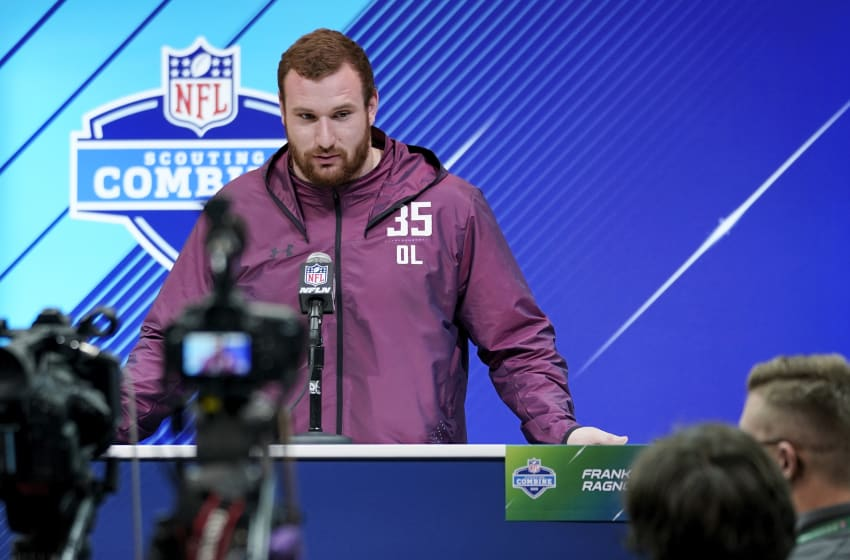 INDIANAPOLIS, IN - MARCH 01: Arkansas offensive lineman Frank Ragnow speaks to the media during NFL Combine press conferences at the Indiana Convention Center on March 1, 2018 in Indianapolis, Indiana. (Photo by Joe Robbins/Getty Images)