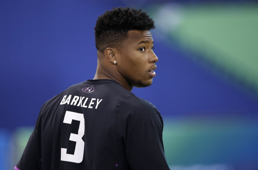 INDIANAPOLIS, IN - MARCH 02: Penn State running back Saquon Barkley looks on during the 2018 NFL Combine at Lucas Oil Stadium on March 2, 2018 in Indianapolis, Indiana. (Photo by Joe Robbins/Getty Images)