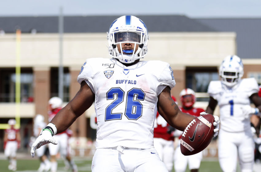 OXFORD, OHIO - SEPTEMBER 28: Jaret Patterson #26 of the Buffalo Bulls in the end zone during the second quarter in the game against the Miami of Ohio RedHawks at Yager Stadium on September 28, 2019 in Oxford, Ohio. (Photo by Justin Casterline/Getty Images)