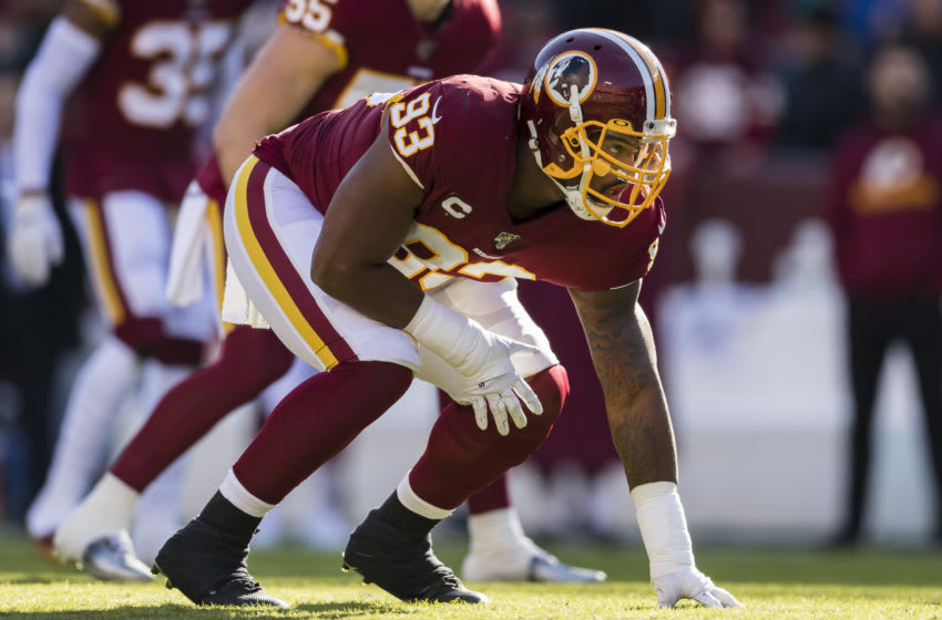 LANDOVER, MD - DECEMBER 15: Jonathan Allen #93 of Washington lines up against the Philadelphia Eagles during the first half at FedExField on December 15, 2019 in Landover, Maryland. (Photo by Scott Taetsch/Getty Images)
