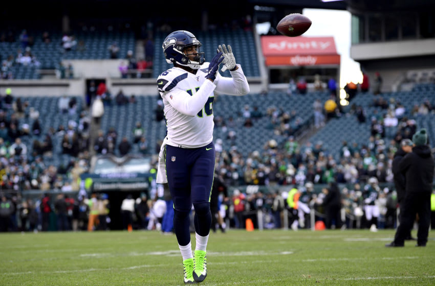 PHILADELPHIA, PENNSYLVANIA - JANUARY 05: Tyrone Swoopes #46 of the Seattle Seahawks warms up prior to the NFC Wild Card Playoff game against the Philadelphia Eagles at Lincoln Financial Field on January 05, 2020 in Philadelphia, Pennsylvania. (Photo by Steven Ryan/Getty Images)