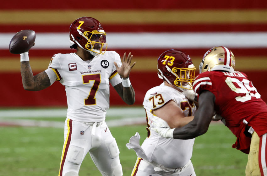 GLENDALE, ARIZONA - DECEMBER 13: Quarterback Dwayne Haskins #7 of the Washington Football Team drops back to pass against the defense of the San Francisco 49ers in the third quarter of the game at State Farm Stadium on December 13, 2020 in Glendale, Arizona. (Photo by Christian Petersen/Getty Images)