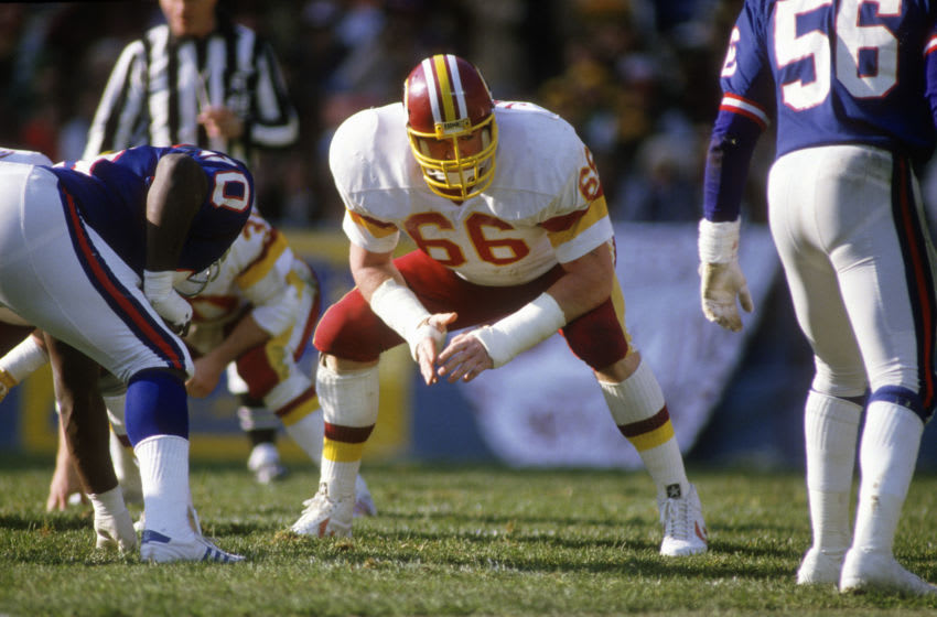 WASHINGTON, D.C. - SEPTEMBER 16: Joe Jacoby #66 of the Washington Redskins in action against the New York Giants during an NFL football game September 16, 1984 at RFK Memorial Stadium in Washington, D.C.. Jacoby played for the Redskins from 1981-93. (Photo by Focus on Sport/Getty Images)