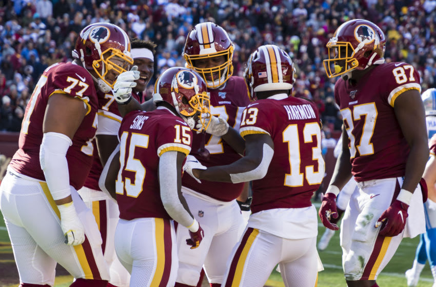 LANDOVER, MD - NOVEMBER 24: Steven Sims #15 of the Washington Redskins celebrates with teammates after returning a kick for a touchdown against the Detroit Lions during the first half at FedExField on November 24, 2019 in Landover, Maryland. (Photo by Scott Taetsch/Getty Images)