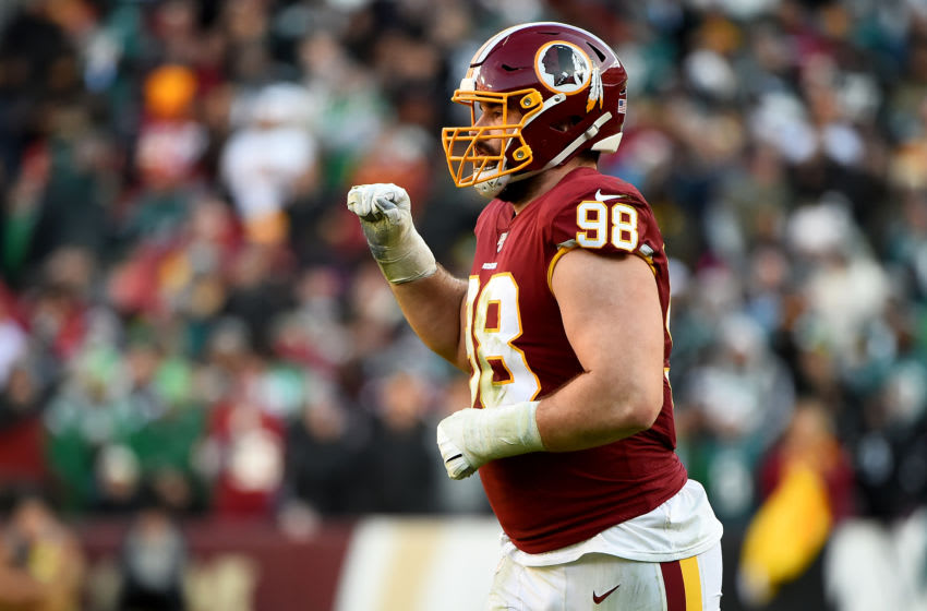 LANDOVER, MD - DECEMBER 15: Matthew Ioannidis #98 of Washington runs on the field during the second half against the Philadelphia Eagles at FedExField on December 15, 2019 in Landover, Maryland. (Photo by Will Newton/Getty Images)