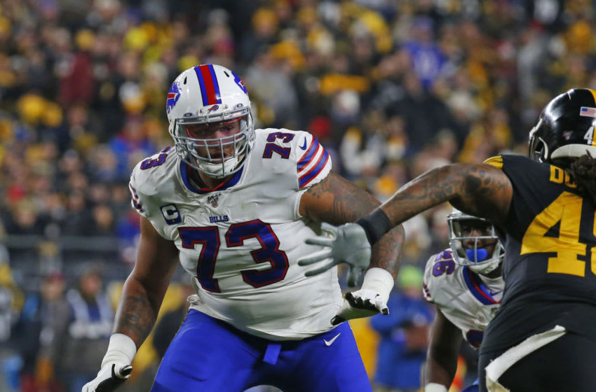PITTSBURGH, PA - DECEMBER 15: Dion Dawkins #73 of the Buffalo Bills in action against the Pittsburgh Steelers on December 15, 2019 at Heinz Field in Pittsburgh, Pennsylvania. (Photo by Justin K. Aller/Getty Images)