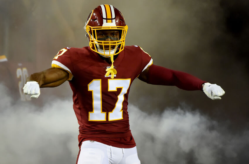 LANDOVER, MD - SEPTEMBER 23: Terry McLaurin #17 of the Washington Redskins is introduced prior to the game against the Chicago Bears at FedExField on September 23, 2019 in Landover, Maryland. (Photo by Will Newton/Getty Images)