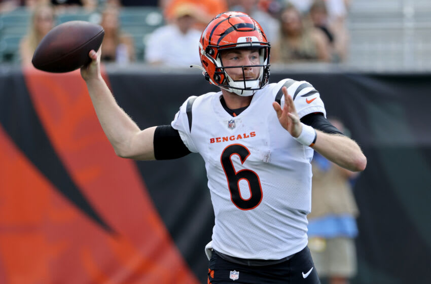 CINCINNATI, OHIO - AUGUST 29: Kyle Shurmur #6 of the Cincinnati Bengals throws a pass in the third quarter against the Miami Dolphins during a preseason game at Paul Brown Stadium on August 29, 2021 in Cincinnati, Ohio. (Photo by Dylan Buell/Getty Images)