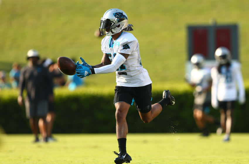 Jul 25, 2019; Spartanburg, SC, USA; Carolina Panthers cornerback Cole Luke (32) attempts to catch a pass during training camp at Wofford College. Mandatory Credit: Jeremy Brevard-USA TODAY Sports