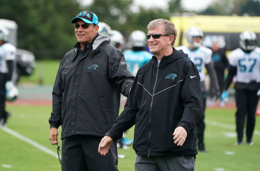 Oct 11, 2019; Harrow on the Hill, United Kingdom; Carolina Panthers head coach Ron Rivera (left) and general manager Marty Hurney during practice at the Harrow School. Mandatory Credit: Kirby Lee-USA TODAY Sports