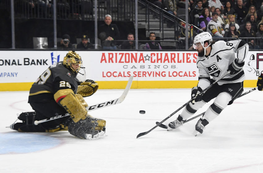 LAS VEGAS, NEVADA - MARCH 01: Marc-Andre Fleury #29 of the Vegas Golden Knights comes out of the crease to block a shot by Drew Doughty #8 of the Los Angeles Kings in the first period of their game at T-Mobile Arena on March 01, 2020 in Las Vegas, Nevada. (Photo by Ethan Miller/Getty Images)