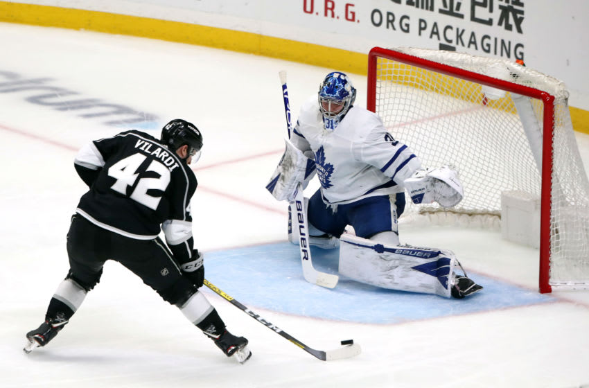 LOS ANGELES, CALIFORNIA - MARCH 05: Gabriel Vilardi #42 of the Los Angeles Kings shoots the puck against Frederik Andersen #31 of the Toronto Maple Leafs during the second period at Staples Center on March 05, 2020 in Los Angeles, California. (Photo by Katelyn Mulcahy/Getty Images)