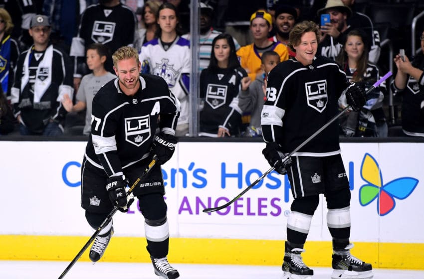 LOS ANGELES, CA - OCTOBER 11: Jeff Carter #77 and Tyler Toffoli #73 of the Los Angeles Kings laugh during warm up before the game against the Calgary Flames at Staples Center on October 11, 2017 in Los Angeles, California. (Photo by Harry How/Getty Images)