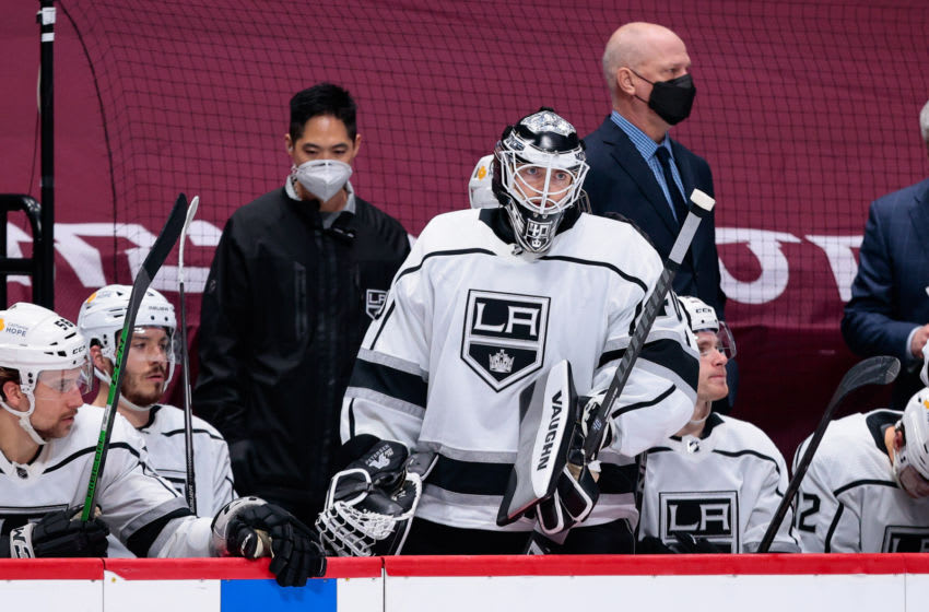 Mar 12, 2021; Denver, Colorado, USA; Los Angeles Kings goaltender Calvin Petersen (40) on the bench in the final minutes of the third period against the Colorado Avalanche at Ball Arena. Mandatory Credit: Isaiah J. Downing-USA TODAY Sports