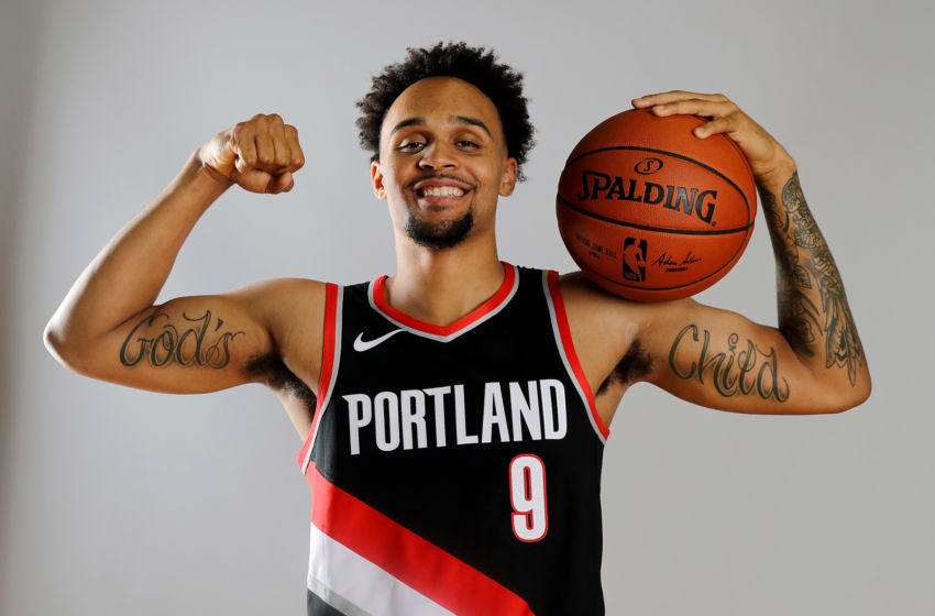 TARRYTOWN, NY - AUGUST 12: Gary Trent Jr. of the Portland Trailblazers poses for a portrait during the 2018 NBA Rookie Photo Shoot at MSG Training Center on August 12, 2018 in Tarrytown, New York.NOTE TO USER: User expressly acknowledges and agrees that, by downloading and or using this photograph, User is consenting to the terms and conditions of the Getty Images License Agreement. (Photo by Elsa/Getty Images)