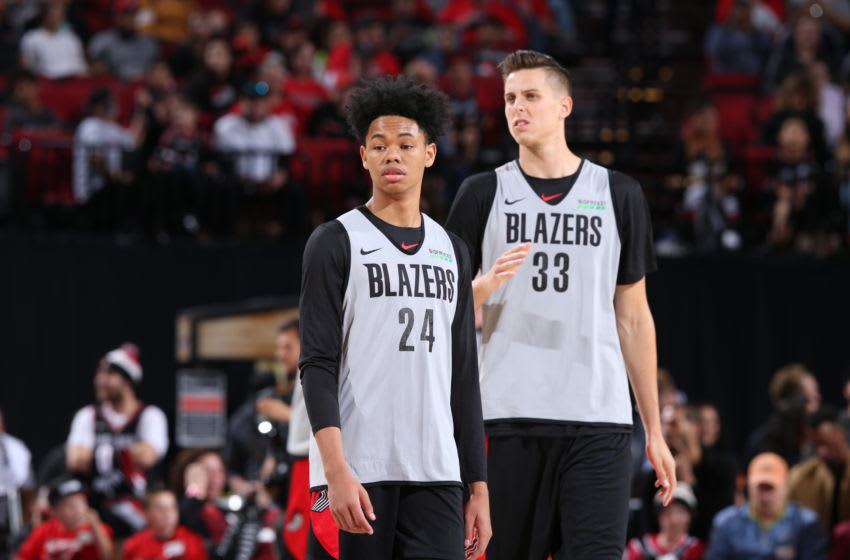 Anfernee Simons Zach Collins Portland Trail Blazers (Photo by Sam Forencich/NBAE via Getty Images)