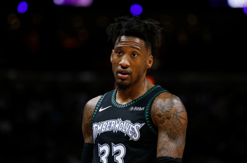 MIAMI, FL - DECEMBER 30: Robert Covington #33 of the Minnesota Timberwolves looks on against the Miami Heat at American Airlines Arena on December 30, 2018 in Miami, Florida. NOTE TO USER: User expressly acknowledges and agrees that, by downloading and or using this photograph, User is consenting to the terms and conditions of the Getty Images License Agreement. (Photo by Michael Reaves/Getty Images)