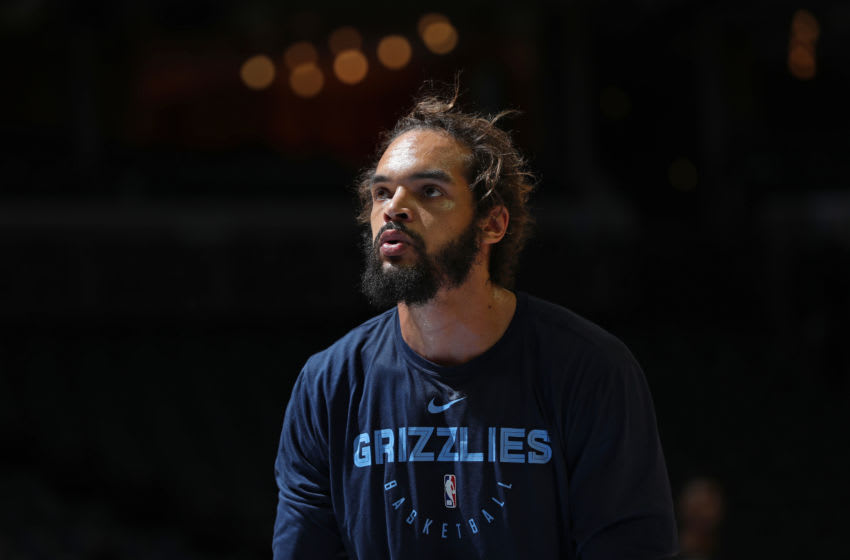 MEMPHIS, TN - JANUARY 25: Joakim Noah #55 of the Memphis Grizzlies looks on during warm up before the game against the Sacramento Kings on January 25, 2019 at FedExForum in Memphis, Tennessee. NOTE TO USER: User expressly acknowledges and agrees that, by downloading and or using this photograph, User is consenting to the terms and conditions of the Getty Images License Agreement. Mandatory Copyright Notice: Copyright 2019 NBAE (Photo by Joe Murphy/NBAE via Getty Images)