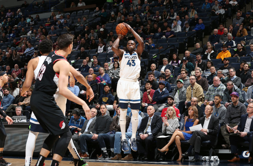 MINNEAPOLIS, MN - APRIL 1: Anthony Tolliver #43 of the Minnesota Timberwolves shoots the ball against the Portland Trail Blazers on April 1, 2019 at Target Center in Minneapolis, Minnesota. NOTE TO USER: User expressly acknowledges and agrees that, by downloading and/or using this photograph, user is consenting to the terms and conditions of the Getty Images License Agreement. Mandatory Copyright Notice: Copyright 2019 NBAE (Photo by David Sherman/NBAE via Getty Images)