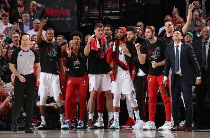 PORTLAND, OR - APRIL 23: Portland Trail Blazers react from the bench during Game Five of Round One of the 2019 NBA Playoffs (Photo by Zach Beeker/NBAE via Getty Images)