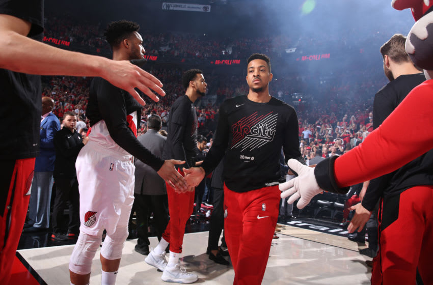PORTLAND, OR - MAY 5: CJ McCollum #3 of the Portland Trail Blazers is introduced before the game against the Denver Nuggets during Game Four of the Western Conference Semifinals of the 2019 NBA Playoffs on May 5, 2019 at the Moda Center Arena in Portland, Oregon. NOTE TO USER: User expressly acknowledges and agrees that, by downloading and or using this photograph, user is consenting to the terms and conditions of the Getty Images License Agreement. Mandatory Copyright Notice: Copyright 2019 NBAE (Photo by Sam Forencich/NBAE via Getty Images)