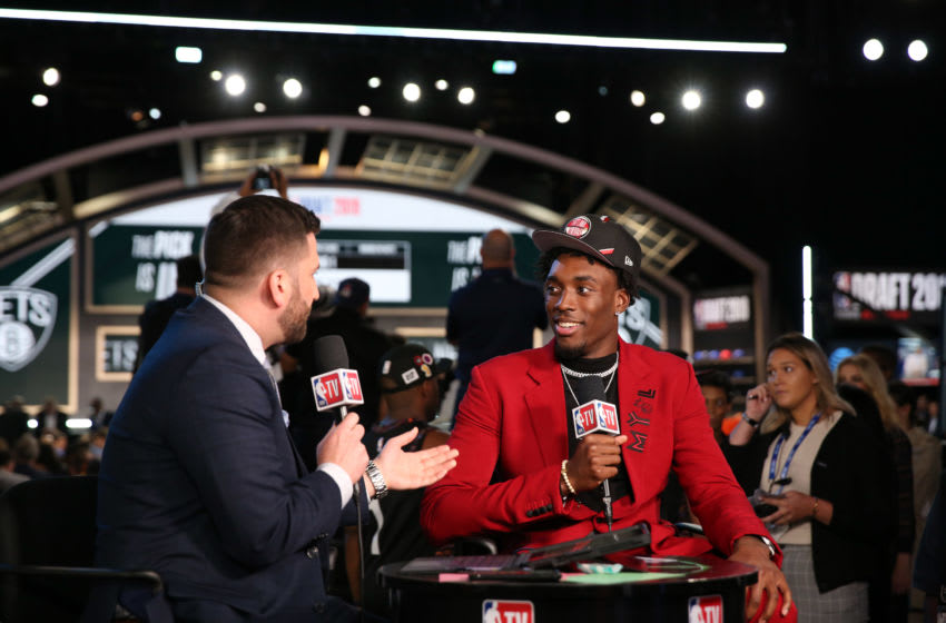BROOKLYN, NY - JUNE 20: Nassir Little is interviewed after being drafted by the Portland Trail Blazers during the 2019 NBA Draft on June 20, 2019 at the Barclays Center in Brooklyn, New York. NOTE TO USER: User expressly acknowledges and agrees that, by downloading and/or using this photograph, user is consenting to the terms and conditions of the Getty Images License Agreement. Mandatory Copyright Notice: Copyright 2019 NBAE (Photo by Mark Westcott/NBAE via Getty Images)