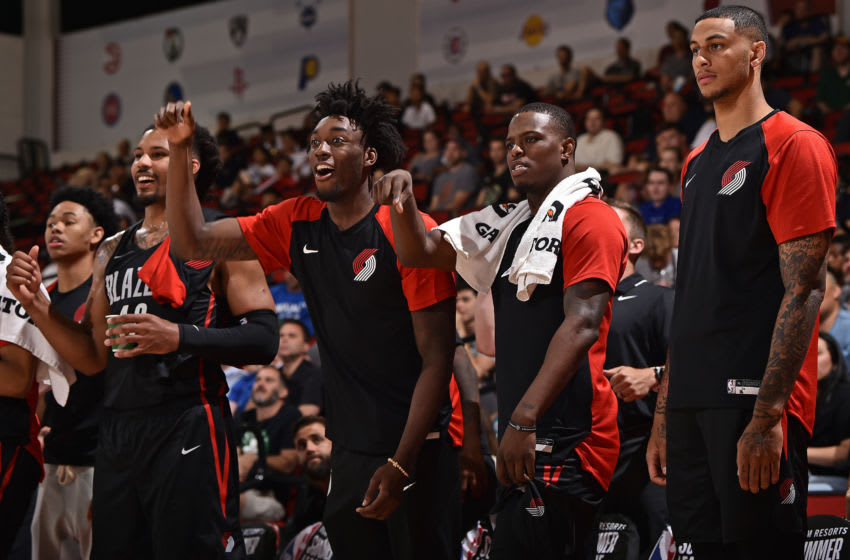 LAS VEGAS, NV - JULY 12: Nassir Little #9 of the Portland Trail Blazers reacts to a play during the game against the Milwaukee Bucks on July 12, 2019 at the Cox Pavilion in Las Vegas, Nevada. NOTE TO USER: User expressly acknowledges and agrees that, by downloading and/or using this photograph, user is consenting to the terms and conditions of the Getty Images License Agreement. Mandatory Copyright Notice: Copyright 2019 NBAE (Photo by David Dow/NBAE via Getty Images)