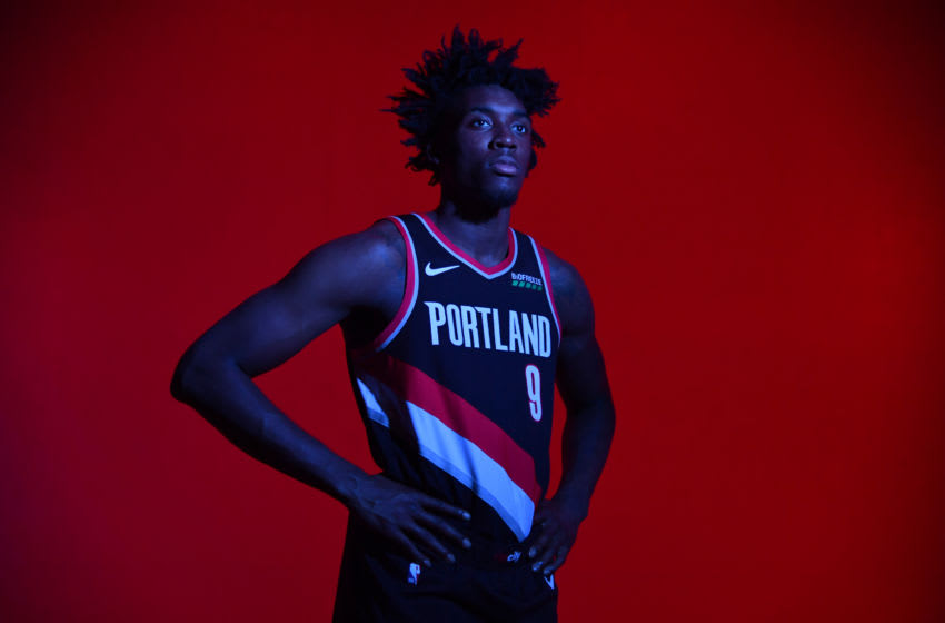 NOMADISON, NJ - AUGUST 11: Nassir Little #9 of the Portland Trail Blazers poses for a portrait during the 2019 NBA Rookie Photo Shoot on August 11, 2019 at Fairleigh Dickinson University in Madison, New Jersey. NOTE TO USER: User expressly acknowledges and agrees that, by downloading and/or using this photograph, user is consenting to the terms and conditions of the Getty Images License Agreement. Mandatory Copyright Notice: Copyright 2019 NBAE (Photo by Jesse D. Garrabrant/NBAE via Getty Images)