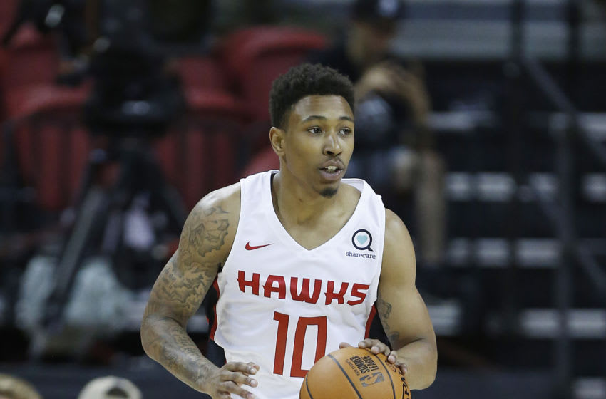 LAS VEGAS, NEVADA - JULY 09: Jaylen Adams #10 of the Atlanta Hawks in action against the Indiana Pacers during the 2019 Summer League at the Thomas & Mack Center on July 09, 2019 in Las Vegas, Nevada. NOTE TO USER: User expressly acknowledges and agrees that, by downloading and or using this photograph, User is consenting to the terms and conditions of the Getty Images License Agreement. (Photo by Michael Reaves/Getty Images)