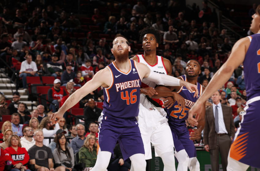 PORTLAND, OR - OCTOBER 12: Aron Baynes #46 of the Phoenix Suns plays defense against the Portland Trail Blazers during a pre-season game on October 12, 2019 at the Moda Center in Portland, Oregon. (Photo by Cameron Browne/NBAE via Getty Images)