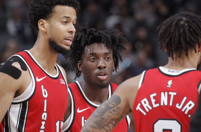 SACRAMENTO, CA - NOVEMBER 12: Nassir Little #9 of the Portland Trail Blazers looks on during the game against the Sacramento Kings on November 12, 2019 at Golden 1 Center in Sacramento, California. NOTE TO USER: User expressly acknowledges and agrees that, by downloading and or using this photograph, User is consenting to the terms and conditions of the Getty Images Agreement. Mandatory Copyright Notice: Copyright 2019 NBAE (Photo by Rocky Widner/NBAE via Getty Images)