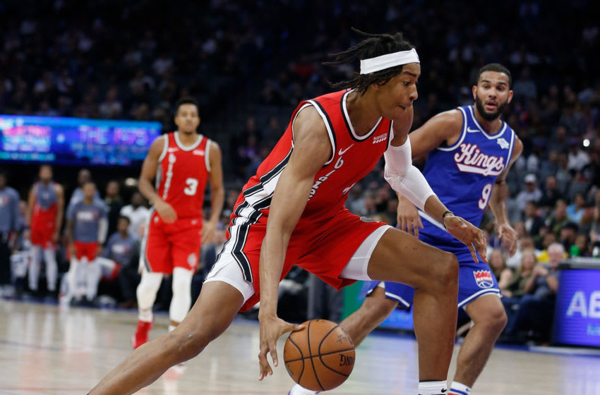 SACRAMENTO, CALIFORNIA - NOVEMBER 12: Moses Brown #4 of the Portland Trail Blazers drives to the basket in the first half against the Sacramento Kings at Golden 1 Center on November 12, 2019 in Sacramento, California. (Photo by Lachlan Cunningham/Getty Images)