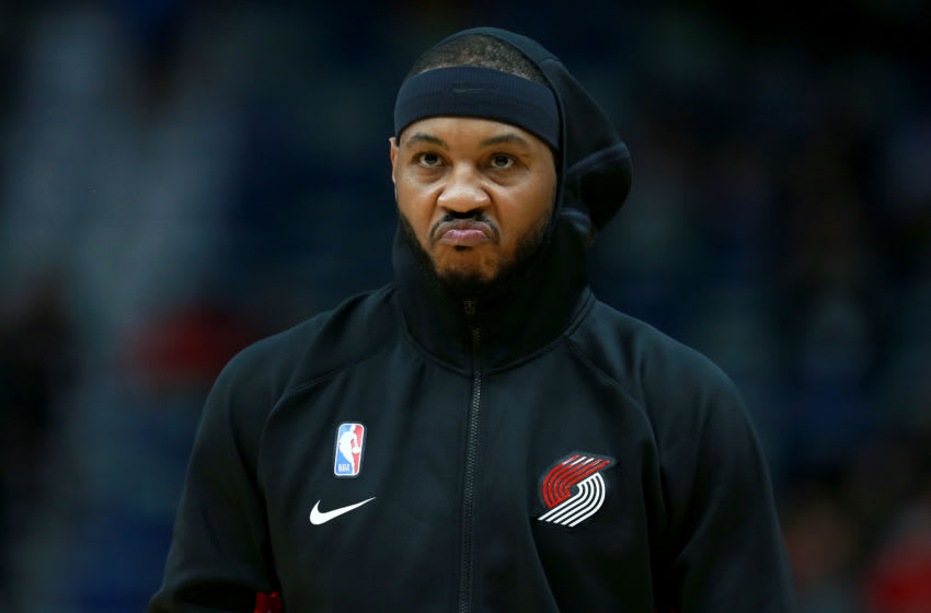 NEW ORLEANS, LOUISIANA - NOVEMBER 19: Carmelo Anthony #00 of the Portland Trail Blazers stands on the court prior to the start of an NBA game against the New Orleans Pelicans at the Smoothie King Center on November 19, 2019 in New Orleans, Louisiana. NOTE TO USER: User expressly acknowledges and agrees that, by downloading and/or using this photograph, user is consenting to the terms and conditions of the Getty Images License Agreement. (Photo by Sean Gardner/Getty Images)