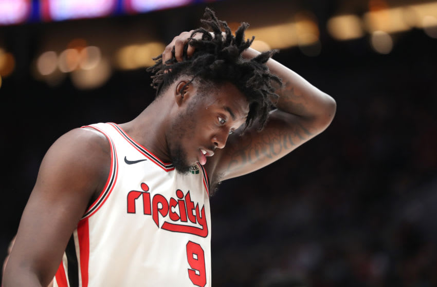 PORTLAND, OREGON - NOVEMBER 27: Nassir Little #9 of the Portland Trail Blazers reacts against the Oklahoma City Thunder in the third quarter during their game at Moda Center on November 27, 2019 in Portland, Oregon. NOTE TO USER: User expressly acknowledges and agrees that, by downloading and or using this photograph, User is consenting to the terms and conditions of the Getty Images License Agreement (Photo by Abbie Parr/Getty Images)
