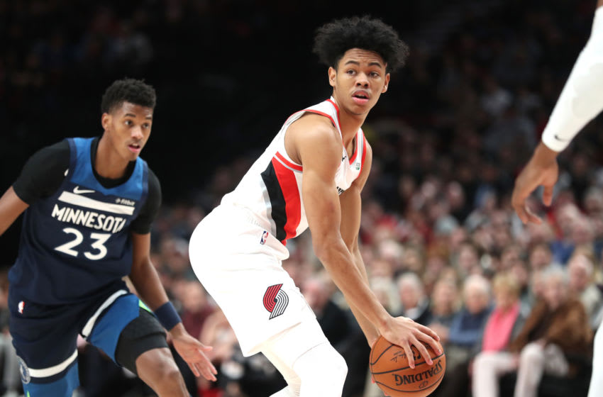 PORTLAND, OREGON - DECEMBER 21: Anfernee Simons #1 of the Portland Trail Blazers handles the ball in the first quarter against the Minnesota Timberwolves during their game at Moda Center on December 21, 2019 in Portland, Oregon. NOTE TO USER: User expressly acknowledges and agrees that, by downloading and or using this photograph, User is consenting to the terms and conditions of the Getty Images License Agreement (Photo by Abbie Parr/Getty Images) (Photo by Abbie Parr/Getty Images)