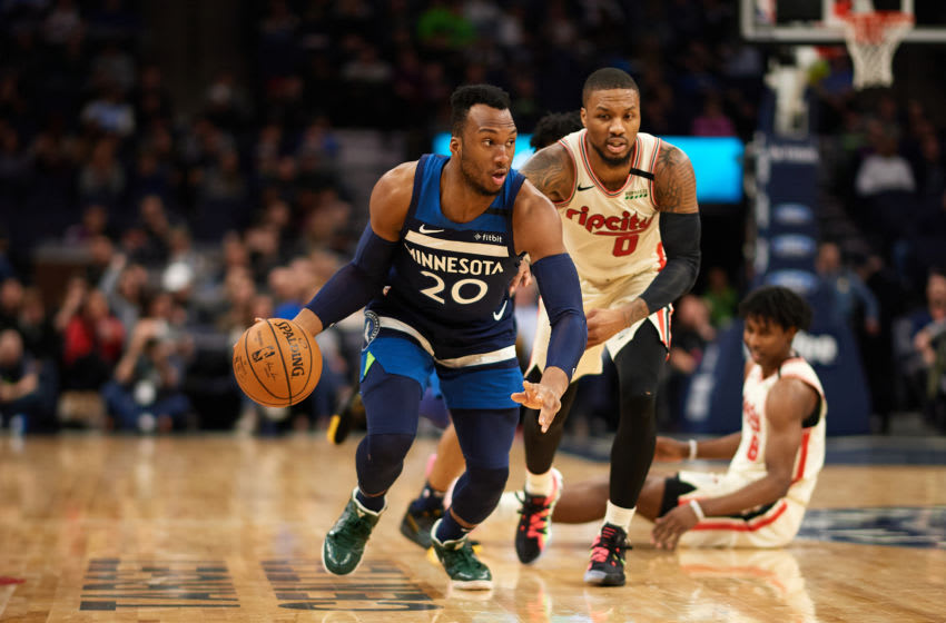 MINNEAPOLIS, MINNESOTA - JANUARY 09: Josh Okogie #20 of the Minnesota Timberwolves dribbles the ball against the Portland Trail Blazers during the game at Target Center on January 9, 2020 in Minneapolis, Minnesota. NOTE TO USER: User expressly acknowledges and agrees that, by downloading and or using this Photograph, user is consenting to the terms and conditions of the Getty Images License Agreement (Photo by Hannah Foslien/Getty Images)