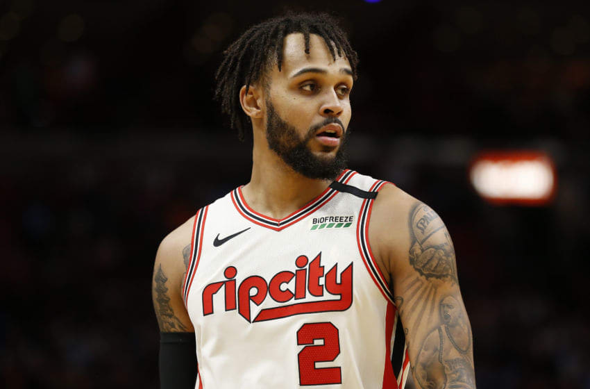 MIAMI, FLORIDA - JANUARY 05: Gary Trent Jr. #2 of the Portland Trail Blazers looks on against the Miami Heat during the first half at American Airlines Arena on January 05, 2020 in Miami, Florida. NOTE TO USER: User expressly acknowledges and agrees that, by downloading and/or using this photograph, user is consenting to the terms and conditions of the Getty Images License Agreement. (Photo by Michael Reaves/Getty Images)